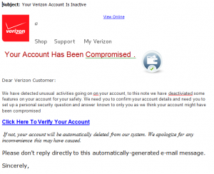 vzw phishing emails