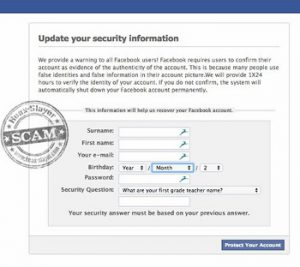 facebook phishing scams