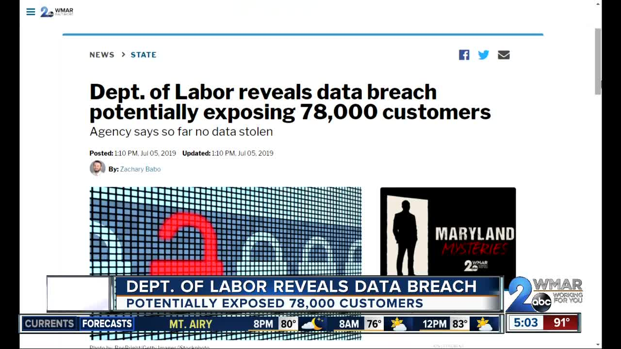 Maryland Department of Labor unemployment security breach data privacy awareness training